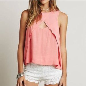 Free People Blush Pink Open Chest Tank Blouse sz S